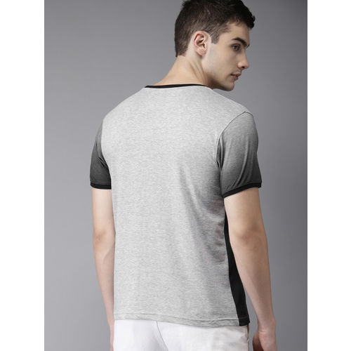 HERE&NOW Men Grey Melange Printed Round Neck T-shirt