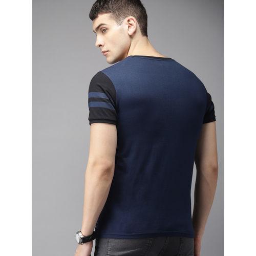 HERE&NOW Men Navy Blue Striped Round Neck T-shirt