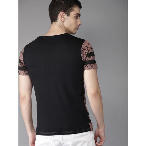HERE&NOW Men Mauve & Black Printed Round Neck T-shirt