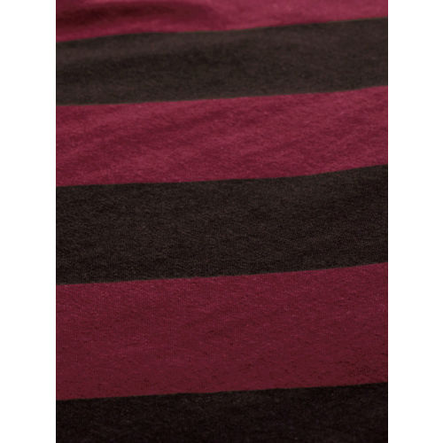 HERE&NOW Men Maroon & Coffee Brown Striped Round Neck T-shirt