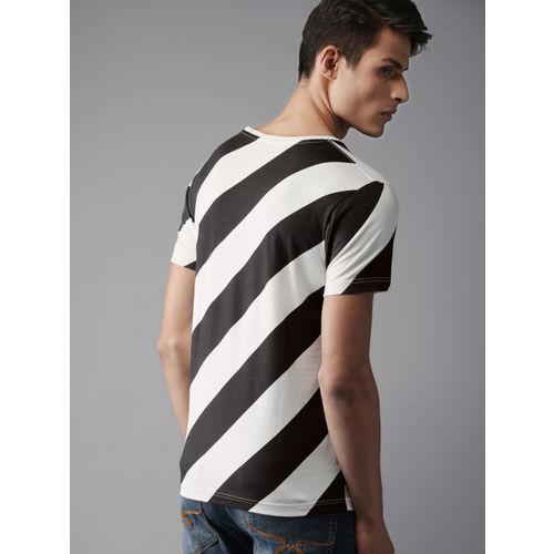 HERE&NOW Men Black & White Striped Round Neck T-shirt
