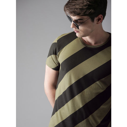 HERE&NOW Men Olive Green & Black Striped Round Neck T-shirt