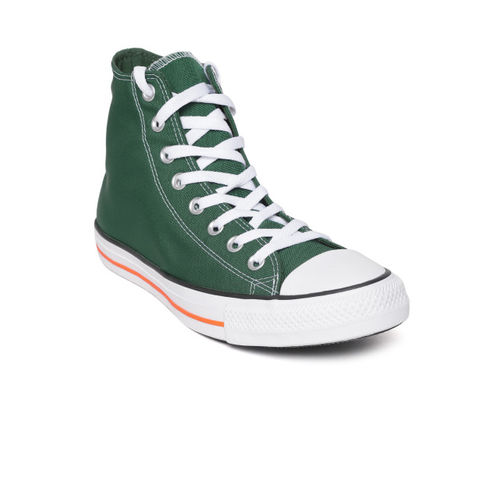 Converse Unisex Green Solid Mid-Top Sneakers