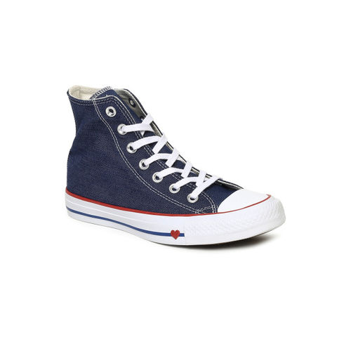 Converse Women Blue Solid Canvas Mid-Top Sneakers