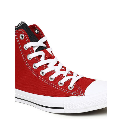 Converse Unisex Red Textured Canvas Mid-Top Sneakers