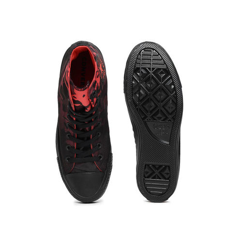 Converse Unisex Red & Black Printed Textile Mid-Top Sneakers