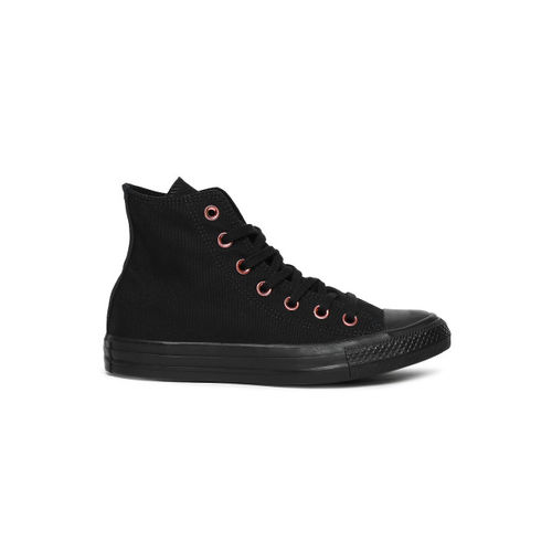 Converse Women Black Solid Canvas Mid-Top Sneakers