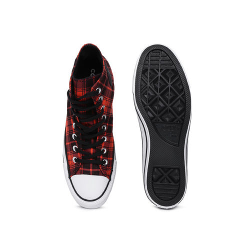 Converse Unisex Red Printed Canvas Mid-Top Sneakers