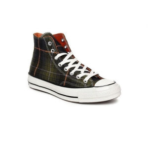 Converse Unisex Olive Green Printed Mid-Top Sneakers