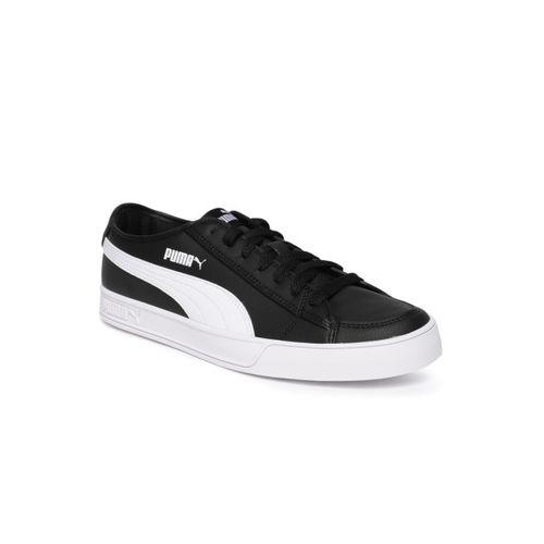 Puma Unisex Black & White Colourblocked Smash v2 Vulc SL Sneakers