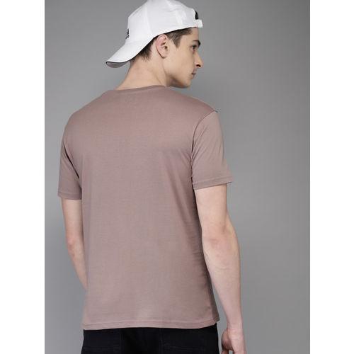 HERE&NOW Men Mauve & Black olourblocked Round Neck T-shirt