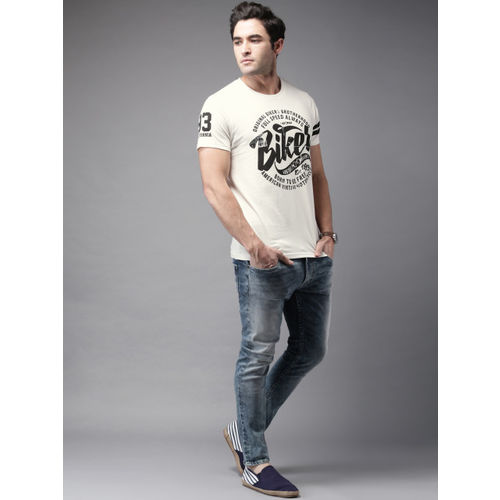 HERE&NOW Men Off-White Printed Round Neck T-Shirt