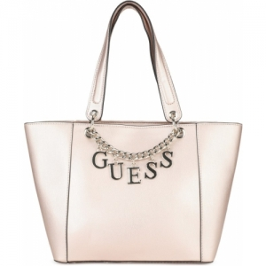 Guess Beige Synthetic Leather Tote Bag