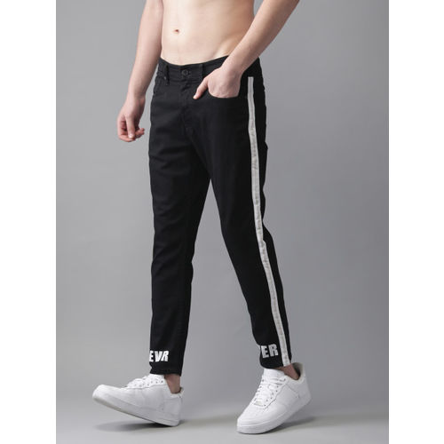 Moda Rapido Men Black Ankle Slim Tapered Fit Mid-Rise Clean Look Stretchable Jeans