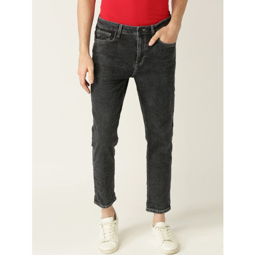 United Colors of Benetton Men Charcoal Grey Mid-Rise Clean Look Stretchable Jeans