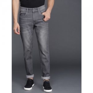 WROGN Gray Cotton Denim Slim Fit Casual Jeans