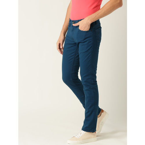 United Colors of Benetton Men Teal Blue Skinny Fit Mid-Rise Clean Look Stretchable Jeans