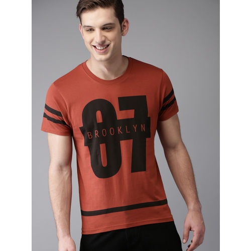 HERE&NOW Men Rust Red Printed Round Neck T-shirt