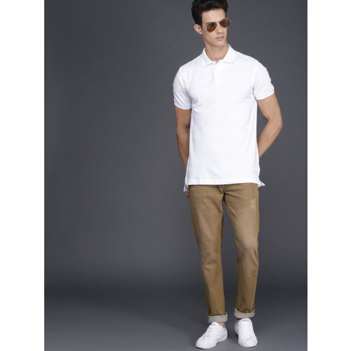 WROGN Men Khaki Slim Fit Mid-Rise Low Distress Stretchable Jeans