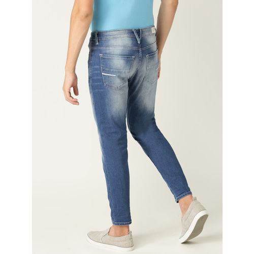 United Colors of Benetton Men Blue Regular Fit Mid-Rise Stretchable Cropped Jeans