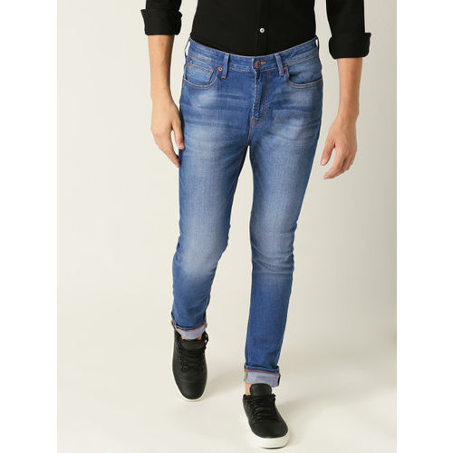United Colors of Benetton Men Blue Carrot Fit Mid-Rise Clean Look Stretchable Jeans