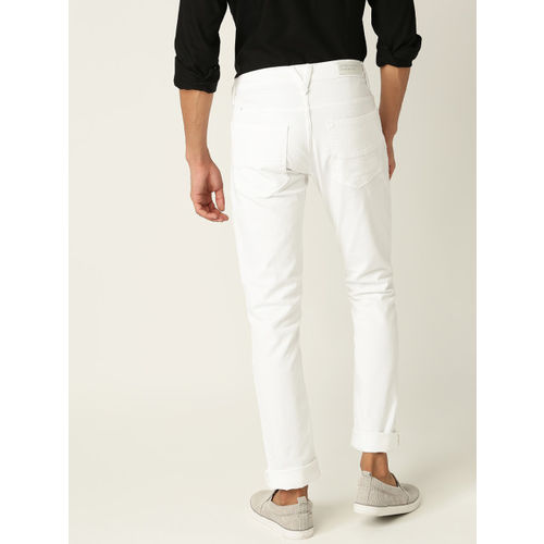 United Colors of Benetton Men White Skinny Fit Mid-Rise Clean Look Stretchable Jeans