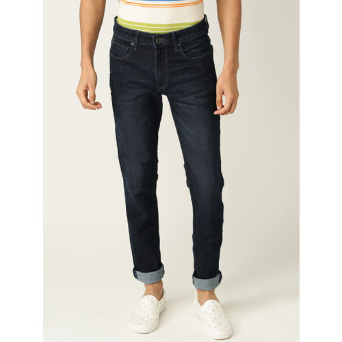 United Colors of Benetton Men Navy Blue Tapered Fit Mid-Rise Clean Look Stretchable Jeans