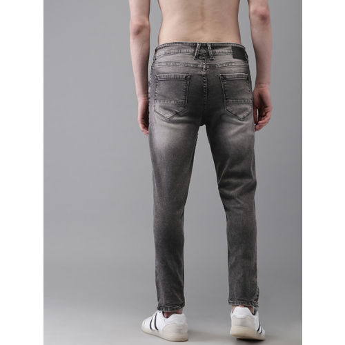 Moda Rapido Men Black Tapered Slim Fit Mid-Rise Mildly Distressed Stretchable Ankle Jeans