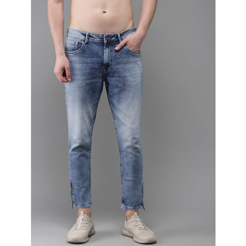 Moda Rapido Men Blue Ankle Slim Tapered Fit Mid-Rise Clean Look Stretchable Jeans