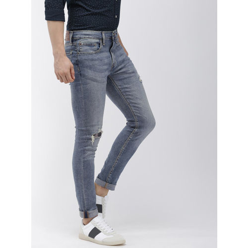 Denizen From Levis Men Blue 204 Super Skinny Fit Mid-Rise Mildly Distressed Jeans