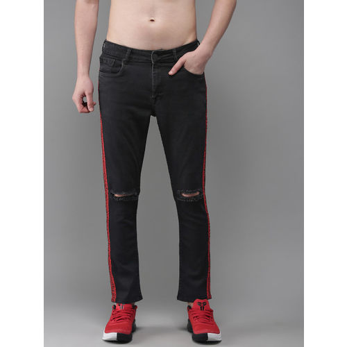 Moda Rapido Men Black Ankle Slim Fit Mid-Rise Slash Knee Stretchable Jeans