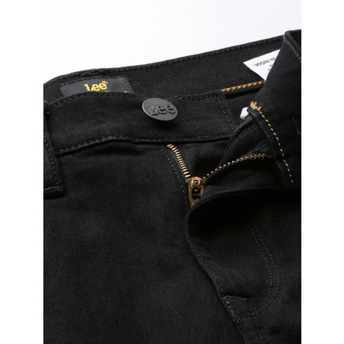 Lee Men Black Travis Slim Fit Mid-Rise Clean Look Stretchable Jeans