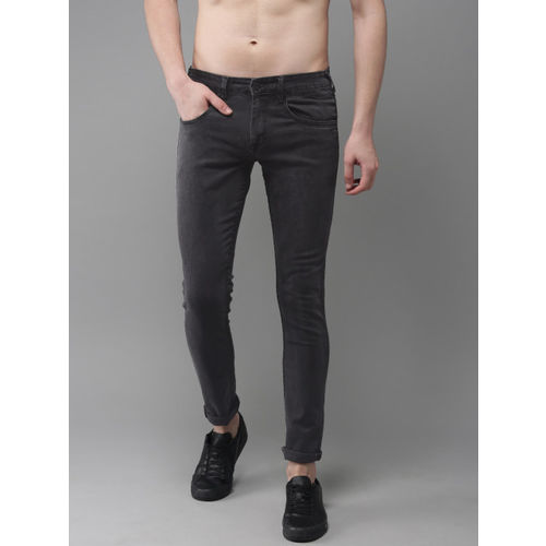 HERE&NOW Men Charcoal Grey Skinny Fit Mid-Rise Clean Look Stretchable Jeans