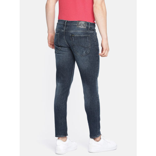 Lee Men Blue Eric Skinny Fit Low-Rise Low Distress Stretchable Jeans