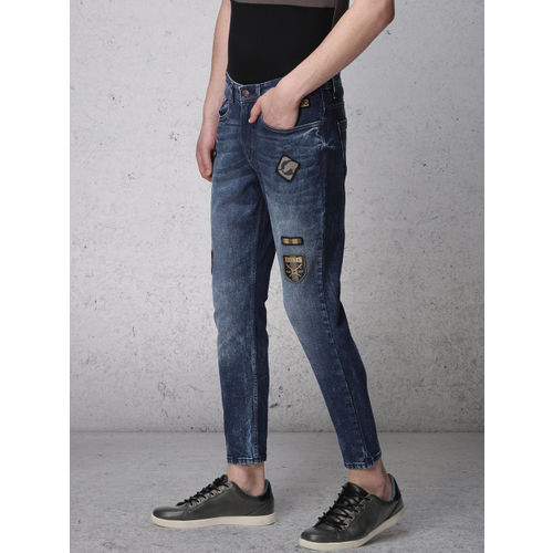 Ecko Unltd Men Blue Slim Tapered Fit Mid-Rise Clean Look Stretchable Ankle-Length Jeans