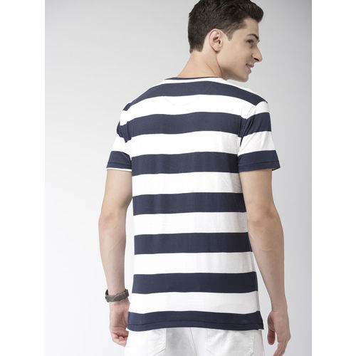 Mast & Harbour Men Navy Blue & White Striped Round Neck T-shirt