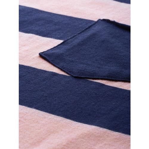 Mast & Harbour Men Pink & Navy Striped Round Neck T-shirt