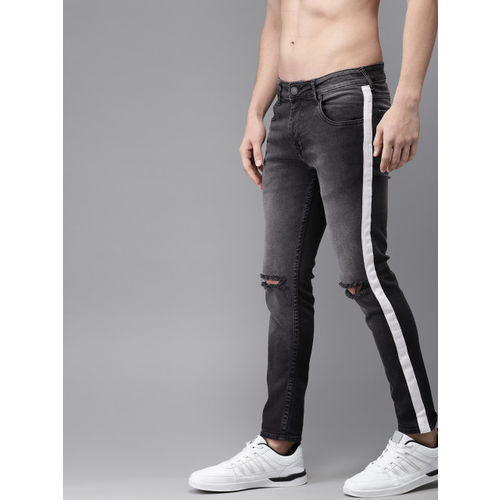 Moda Rapido Men Black Skinny Fit Mid-Rise Slash Knee Stretchable Ankle-Length Jeans