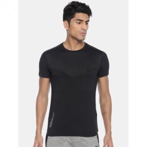 Mufti Black Cotton Solid Round Neck Sports T-shirt