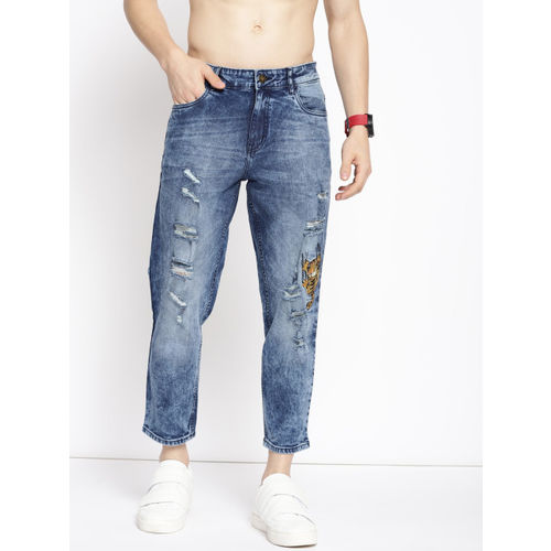 Kook N Keech Garfield Men Blue Anti Fit Mid-Rise Highly Distressed Cropped Jeans