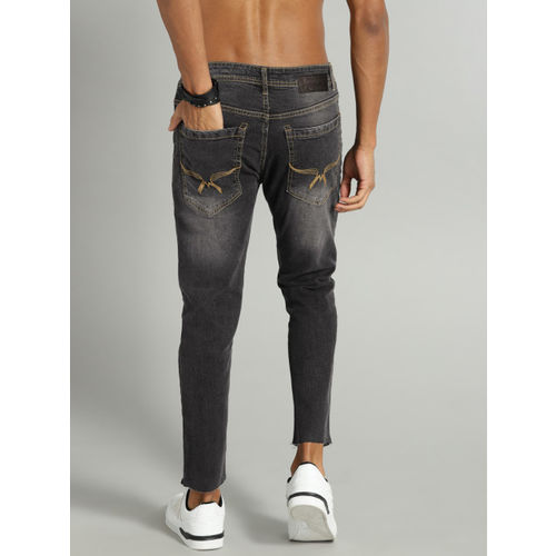 Roadster Men Black Skinny Cropped Fit Mid-Rise Clean Look Stretchable Jeans