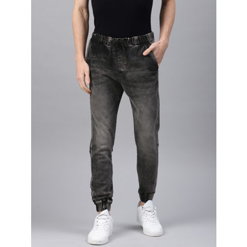 French Connection Men Black Jogger Mid-Rise Clean Look Stretchable Jogger Jeans
