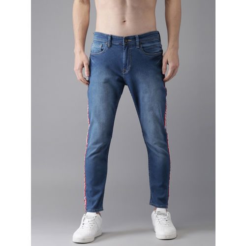Moda Rapido Men Blue Slim Tapered Fit Mid-Rise Clean Look Stretchable Ankle Jeans