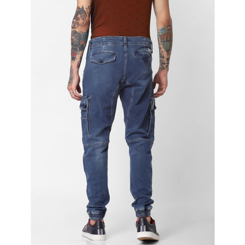 Jack & Jones Men Blue Tapered Fit High-Rise Clean Look Stretchable Jogger Jeans