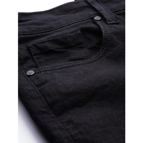 Moda Rapido Men Black Slim Tapered Fit Mid-Rise Slash Knee Stretchable Jeans
