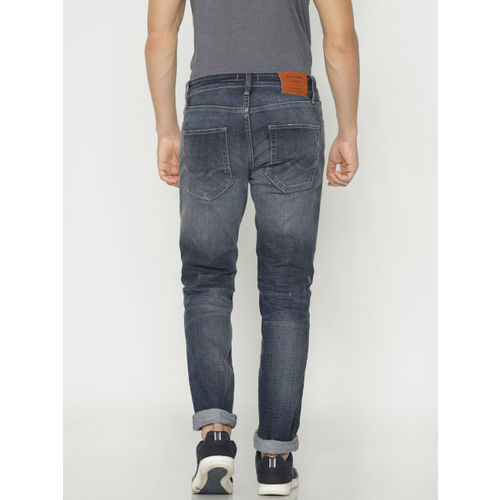 Jack & Jones Men Blue Tim Slim Fit Mid-Rise Mildly Distressed Stretchable Jeans