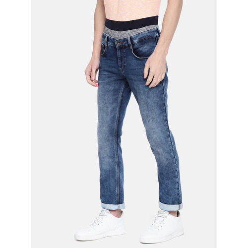 Parx Men Blue Slim Tapered Fit Mid-Rise Clean Look Stretchable Jeans