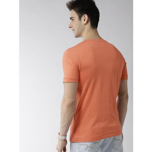Mast & Harbour Men Orange & Navy Blue Printed Round Neck T-shirt