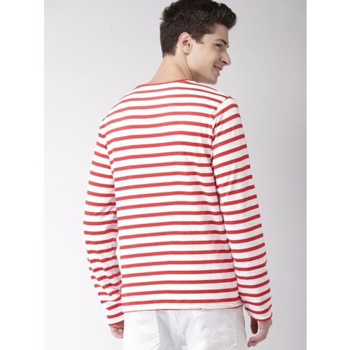 Mast & Harbour Men Red & White Striped Round Neck T-shirt