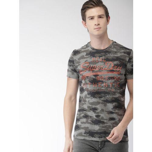 Superdry Men Grey Melange Printed Round Neck T-shirt
